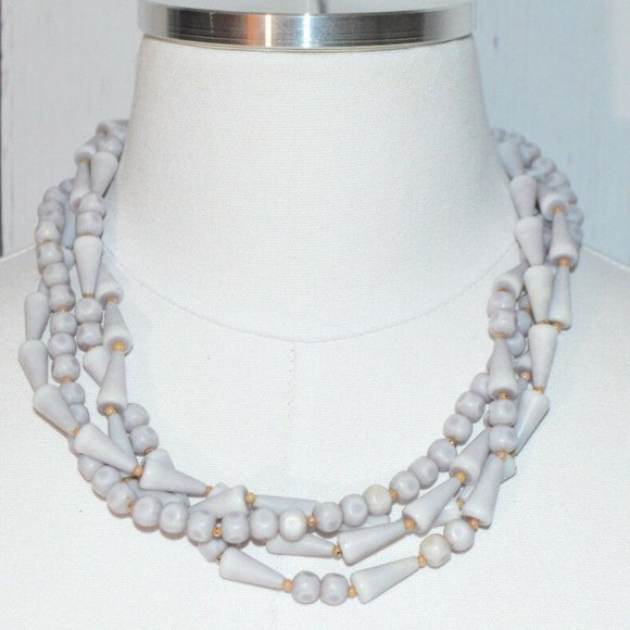Vintage Jewelry - Light Purple Gray Abstract Bead Beaded Necklace